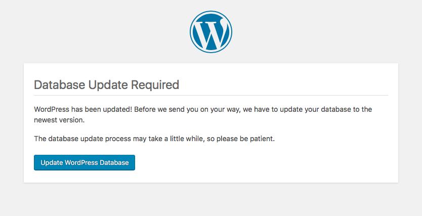 Database Update Required - blokada wp-admin